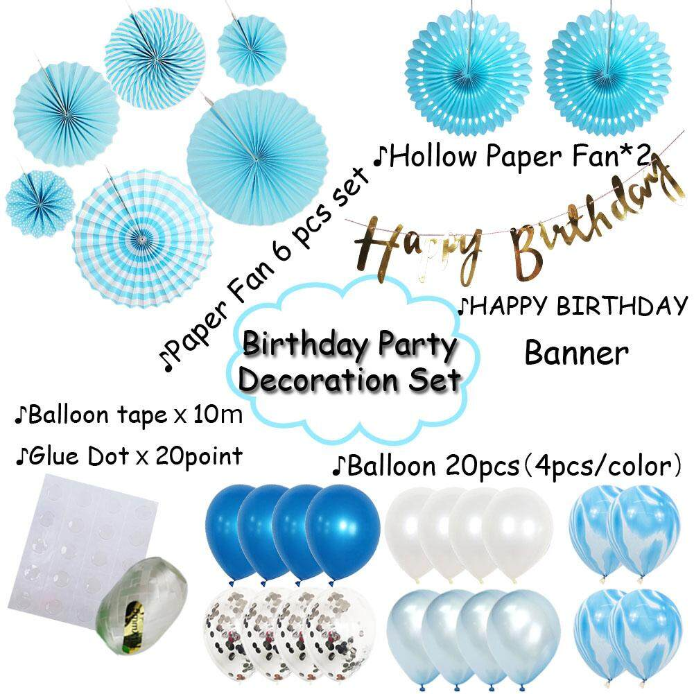 Features Birthday Decoration For Kid Baby Boy Teen Men Blue Party