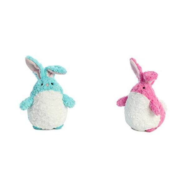 Aurora set of 2 Jelly Rolls Bunnies, includes Jelly Rolls Aquamarine Bunny and Jelly Rolls Tulip Bunny - intl
