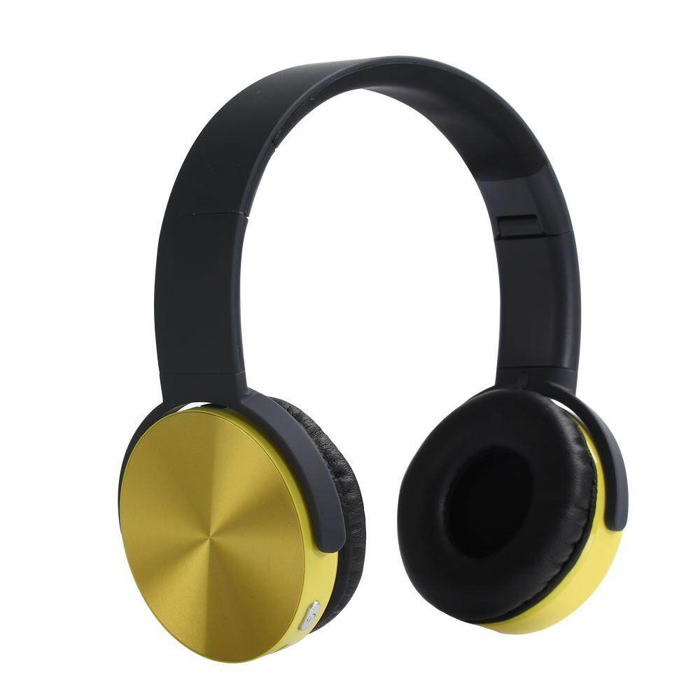 401356f662a wanying Headset Stereo Bluetooth Headset Wired Wireless Dual-use Folding  Headset(Yellow)