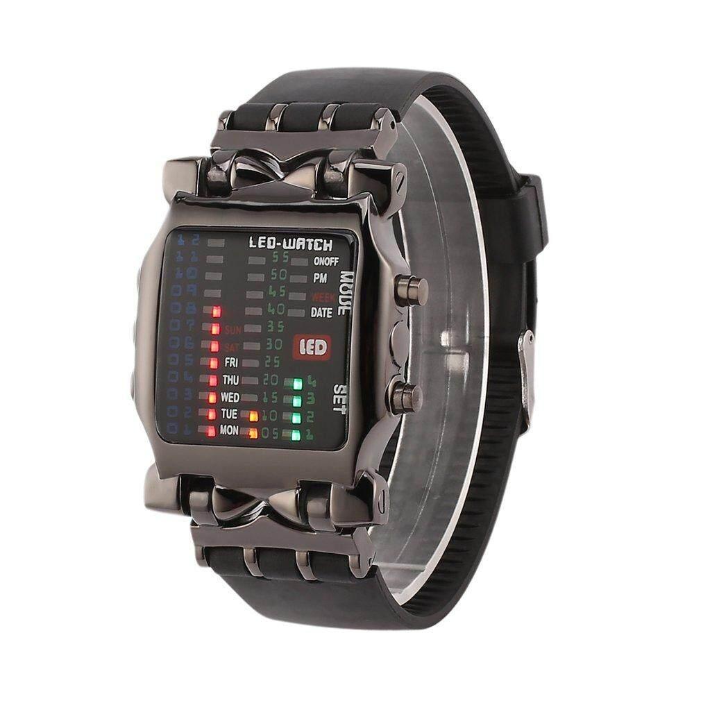 New Unisex Square gaya keren warna-warni LED Digital Watch biner pergelangan tangan hitam