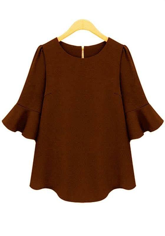 Stylish look new fashion  3/4 sleeve blouse for women - Peplum
