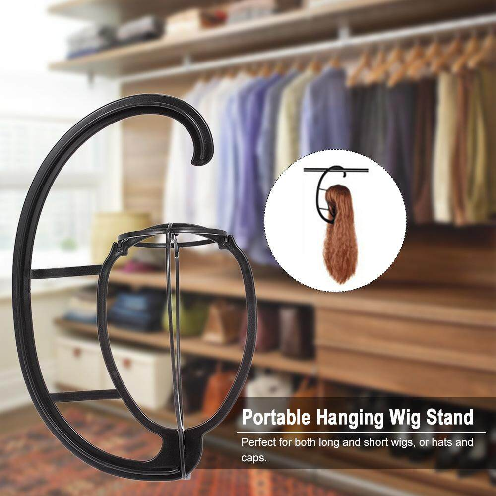 ... Portable Hanging Wig Stand Plastic DIY Hats Hanger Detachable Long & Short Wigs Display Dryer Holder ...