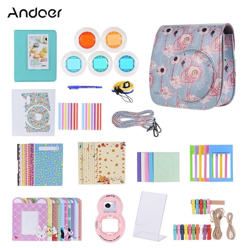 Andoer 14 in 1 Accessories Kit for Fujifilm Instax Mini 9/8/8+/8s with Camera Case/Strap/Sticker/Selfie Lens/5*Colored Filter/Album/3 Kinds Film Table Frame/10*Wall Hanging Frame/40*Border Sticker/2*Corner Sticker/Pen - intl