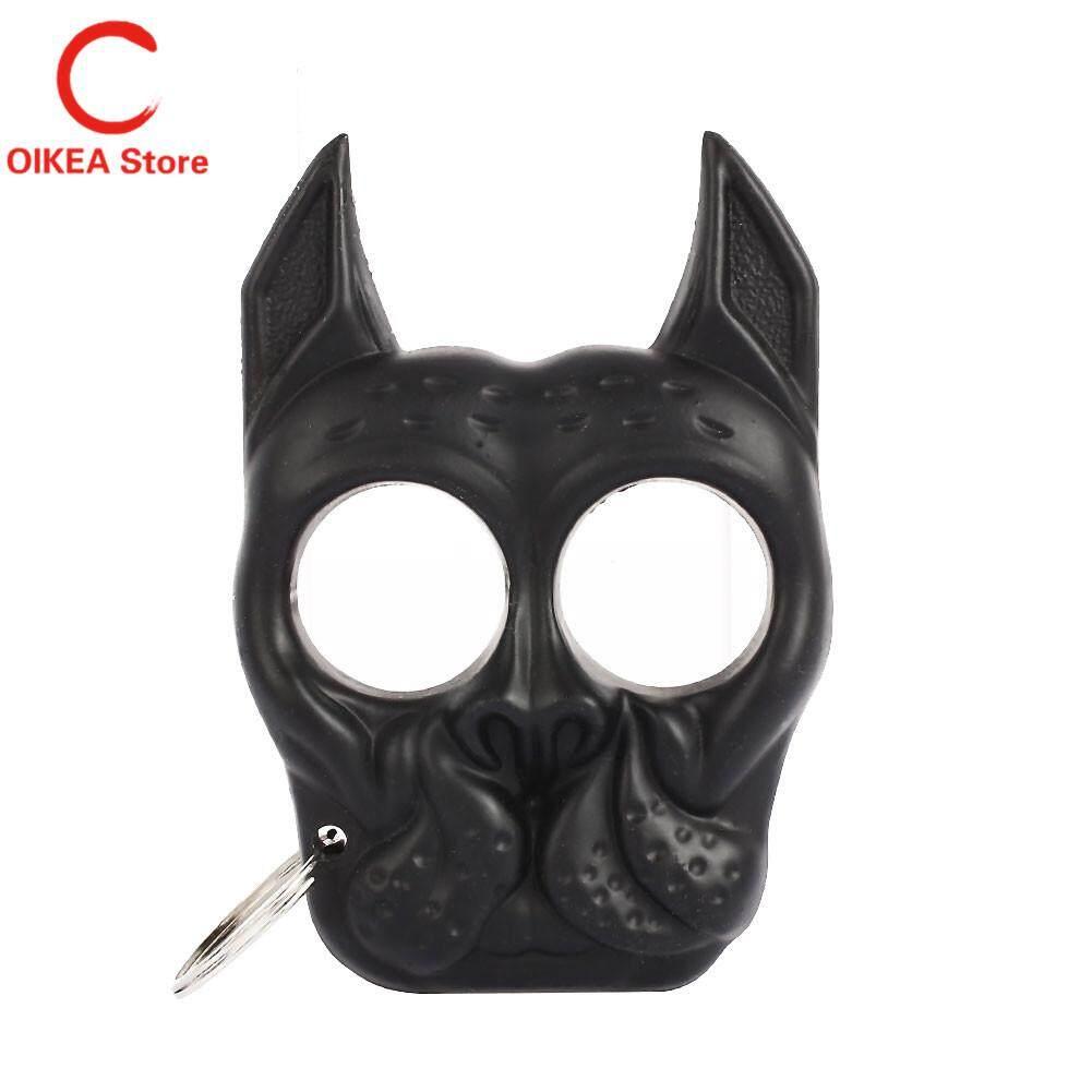 OIKEA Self Defense Ring Iron Lotus Practical Dog Style Black/Khaki Handcuffs Finger - intl