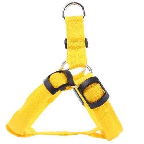 LEDS PET DOG CAT SAFETY COLLAR GLOW FLASH LIGHT BELT LEASH TETHER ROPE (YELLOW)