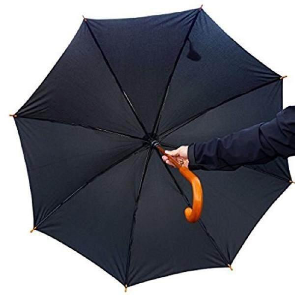 Almm Procella Besar Berjalan Tongkat Cane Payung dengan Pegangan Kayu, Anti-Air, Otomatis Open, Di Luar Ruangan, perjalanan & Bisnis Payung untuk Pria & Wanita, Matahari, Hujan, angin & Perlindungan Badai (Kayu Gelap)-Internasional