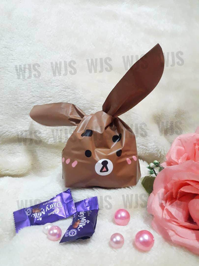 (MULTIPLE SIZES) WJS 50pcs 50 pcs Cute Browny Bear Bear Full Brown Goodies Bag