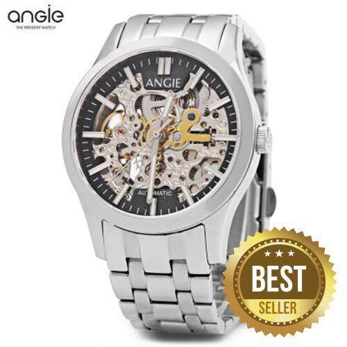 ANGIE ST7183L FREDERIS SERIES WOMEN AUTOMATIC WIND MECHANICAL WATCH LUMINOUS 5ATM HOLLOW DIAL SPORT WRISTWATCH (SILVER AND BLACK)