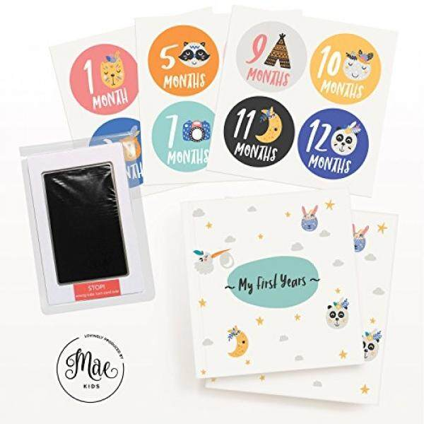 Mae Kids First 5 Years Baby Memory Book, Clean-Touch Ink Pad & 12 Milestone Stickers – Large Album For Recording Your Babies Photo's & Memories – Perfect Baby Shower Keepsake Gift For Boy Or Girl - Intl.
