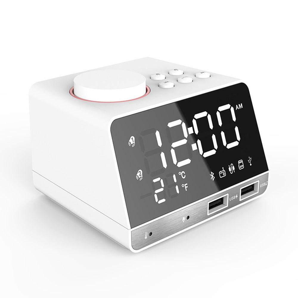 LED Alarm Clock FM Radio,with Wireless Bluetooth Speaker Player,USB Fast Chargeing Port, Indoor Temperature(UK Plug)