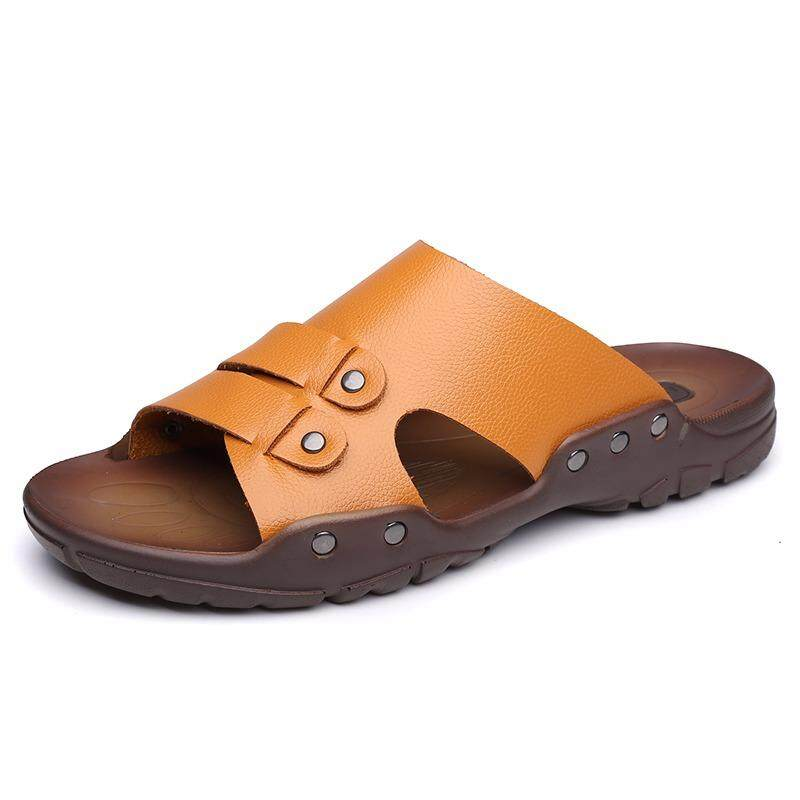 Musim Panas untuk Pria Sandal Kulit Sapi Split Sandal Pantai Pria Pria Kasual Selop Sepatu Keren-Internasional