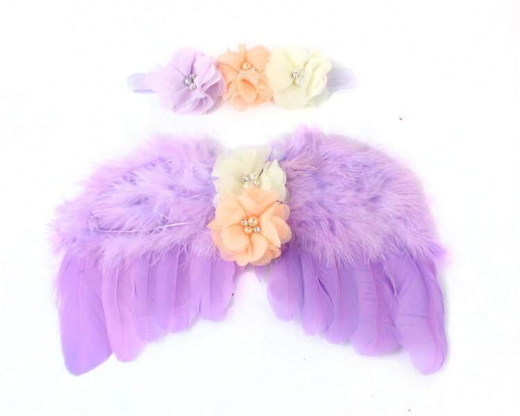 Eu Amerika Serikat Seksi Baru Lahir Fotografi Malaikat Wings Set Child Bayi Foto Menopang Wing Ikat Kepala Bulu Berlian Imitasi Set