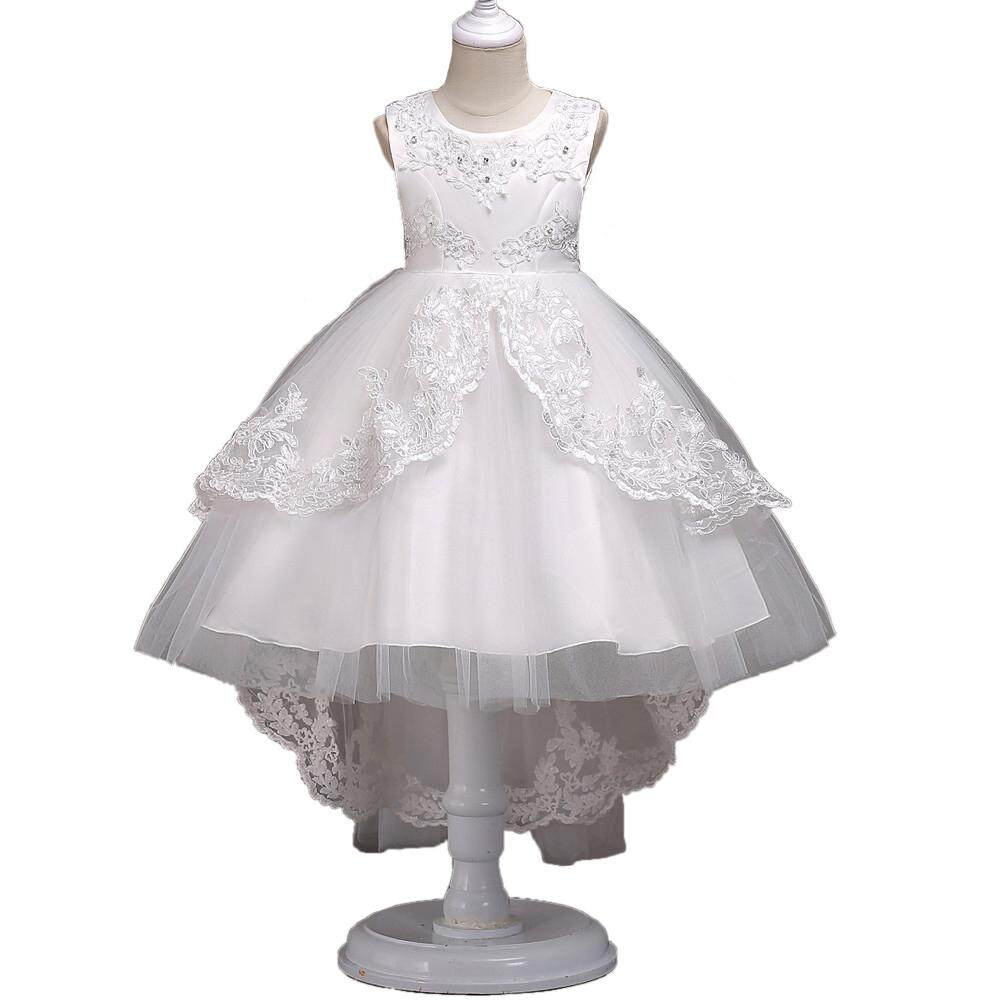 dd495033d Lucky girl Girls Lovely Flower Princess Lace Trailing Skirt Birthday  Wedding Pageant Party Dress