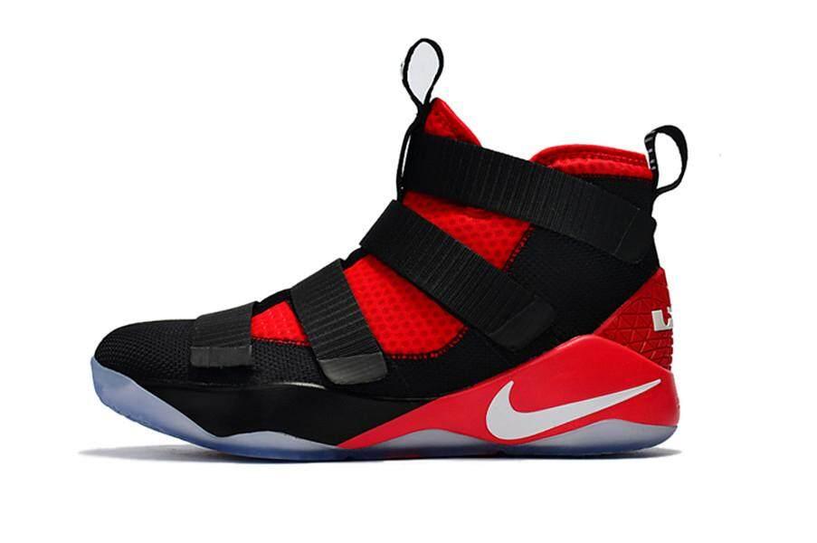 Men's NBA Athletic Shoes Sport Boots LeBron James High Top Original King James LBJ 11 Sneaker NlKE Lebron Soldier 11 Adult Basketball Shoe LeBron XI (Black) 40-45 - intl