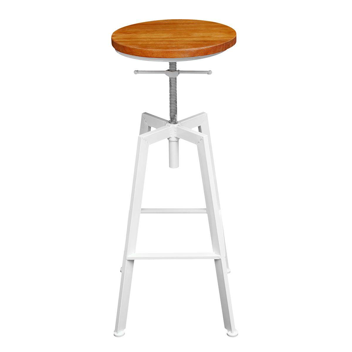 iron bar chairs solid wood bar stool retro industrial design rotating lift high chair dining White