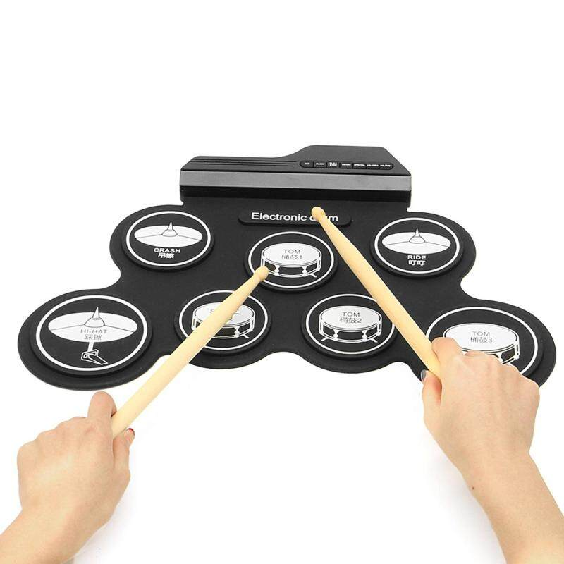 8 In 1Foldable Electronic Roll Up Drum Pad Kit 7 Silicon w/ Stick For Beginner - intl