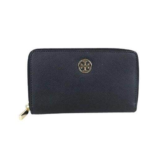 Tory Burch Robinson Saffiano Leather Continental Zip Wallet (BLACK)
