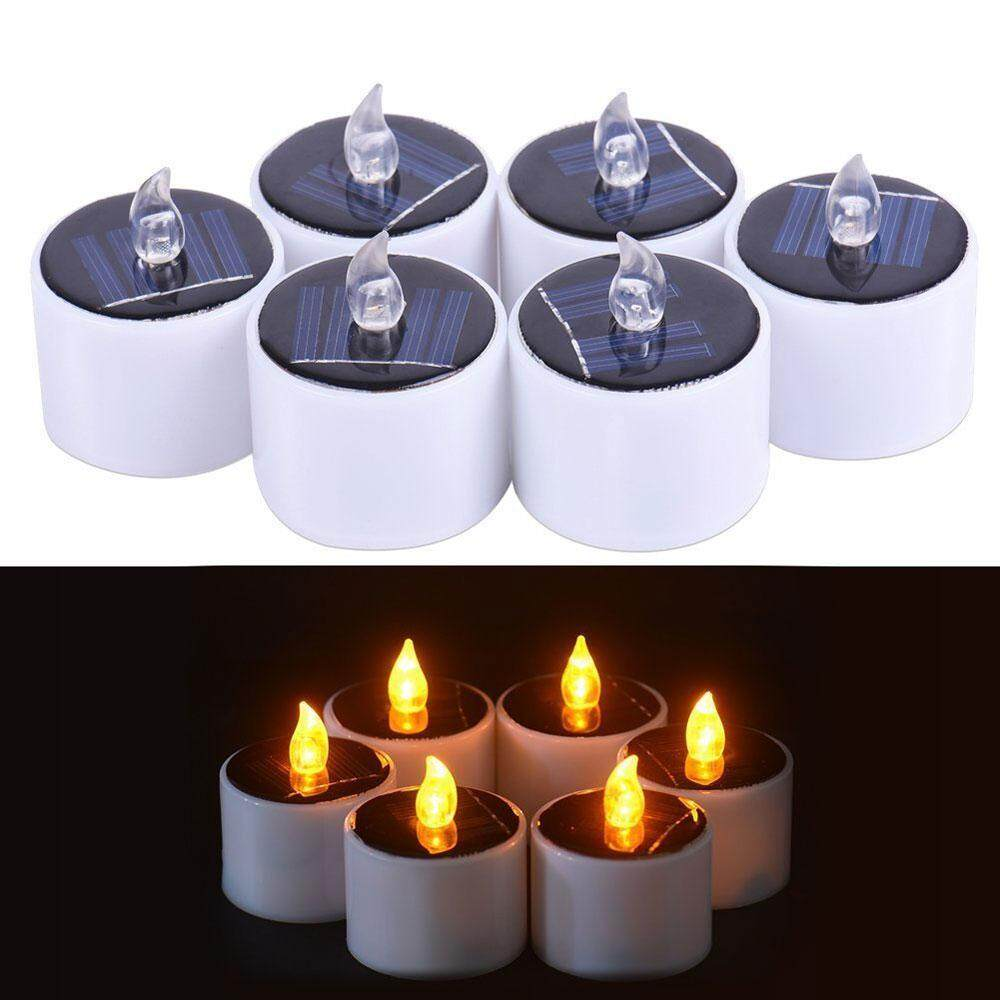 OXOQO 6 Pcs Solar Power Yellow Flicker LED Tea Lights Flameless Solar Operated Candles Lamp Nightlight For Outdoor Camping Emergency Holiday Evening