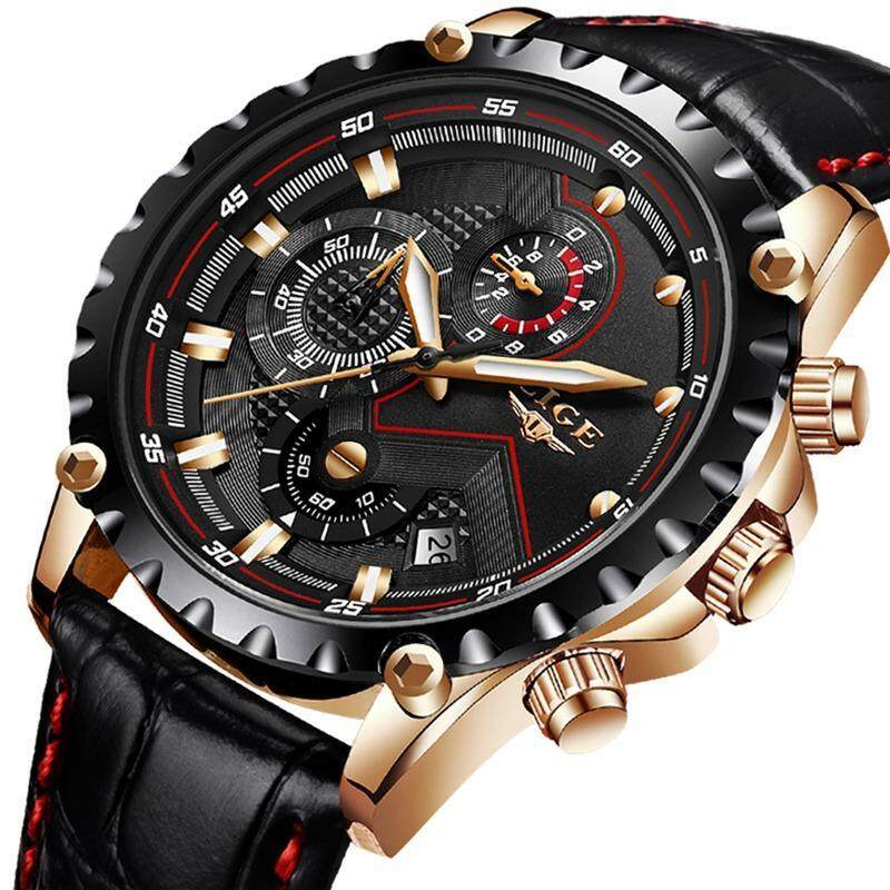 LIGE Top Luxury Brand Watch Men Fashion Quartz Sports Watch Mens Casual Leather Waterproof Business Watches Malaysia