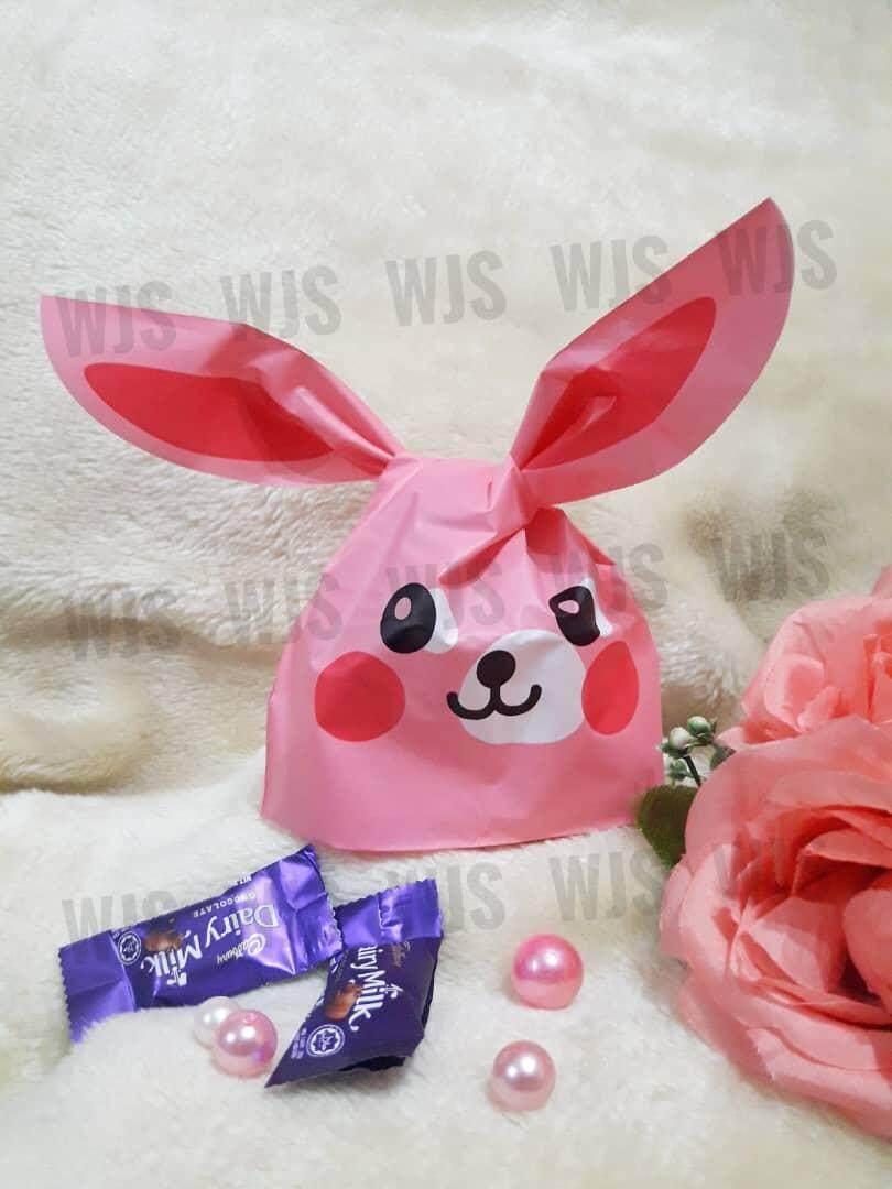 (MULTIPLE SIZES) WJS 50pcs 50 pcs Cute Rabbito Rabbit Smily Full Pink Goodies Bag