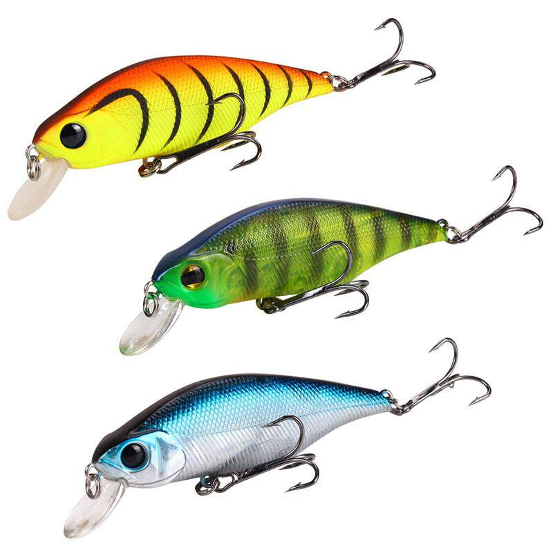 Set of 10 Random Bass Trout Walleye Minnow Lures Freshwater bait Fishing Hooks