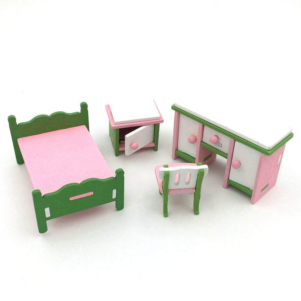 Wonderful Toy Creative Wooden Simulation Furniture 3D Assembly Puzzle Set Building Construction Blocks Jigsaw Puzzle Toys Style:Bedroom