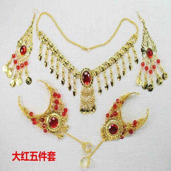 Perut Menari Performa Aksesori Tari India Perhiasan Dansa Aksesoris Enam Potong Bulang Anting Gelang Kalung Berwarna Merah Enam kepingan (Merah Lima Set) -Internasional