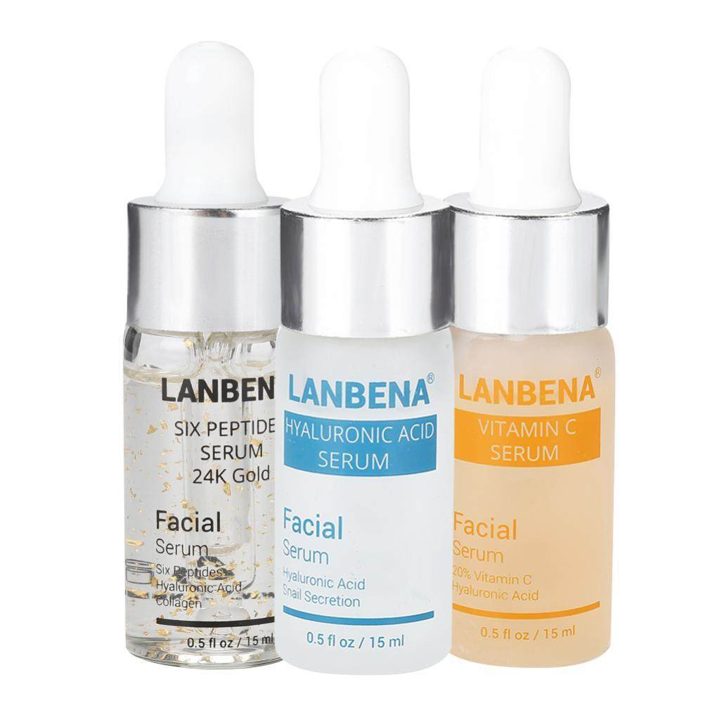LANBENA Hyaluronic Acid Serum + Vitamin C Serum + Six Peptides Serum 24K Gold Anti-aging - intl