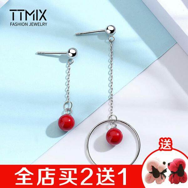 Ttmix mother pearl asymmetric sterling silver earrings female fringed S925 silver fashion temperament female students Korean personality earrings ear jewelry is not easy to allergies passion red -(Warm red - ) - intl