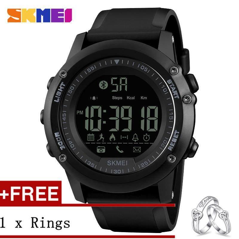DOTEC SKMEI 1321 Men Sport Call notifications Pedometer Calorie Digital Luminous Watch + Free a Couple Rings