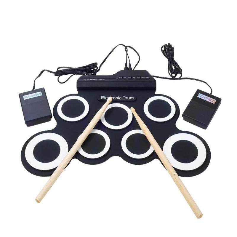 hazyasm Portable Electronic Roll Up Drum Pad Instrument Gift Kit Silicon Foldable With Stick - intl
