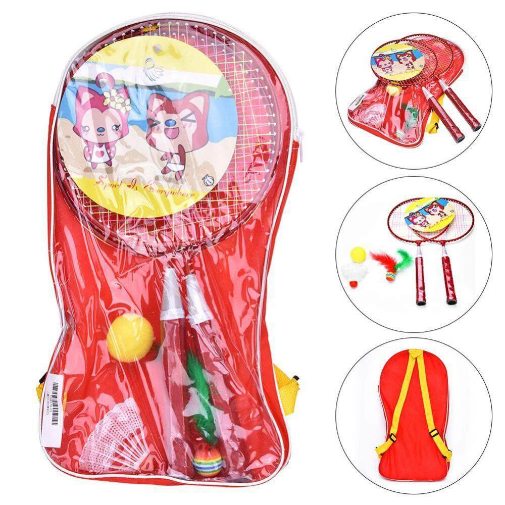 1 Pair Colorful Children Entertainment Cartoon Badminton Rackets Set for Sports Games