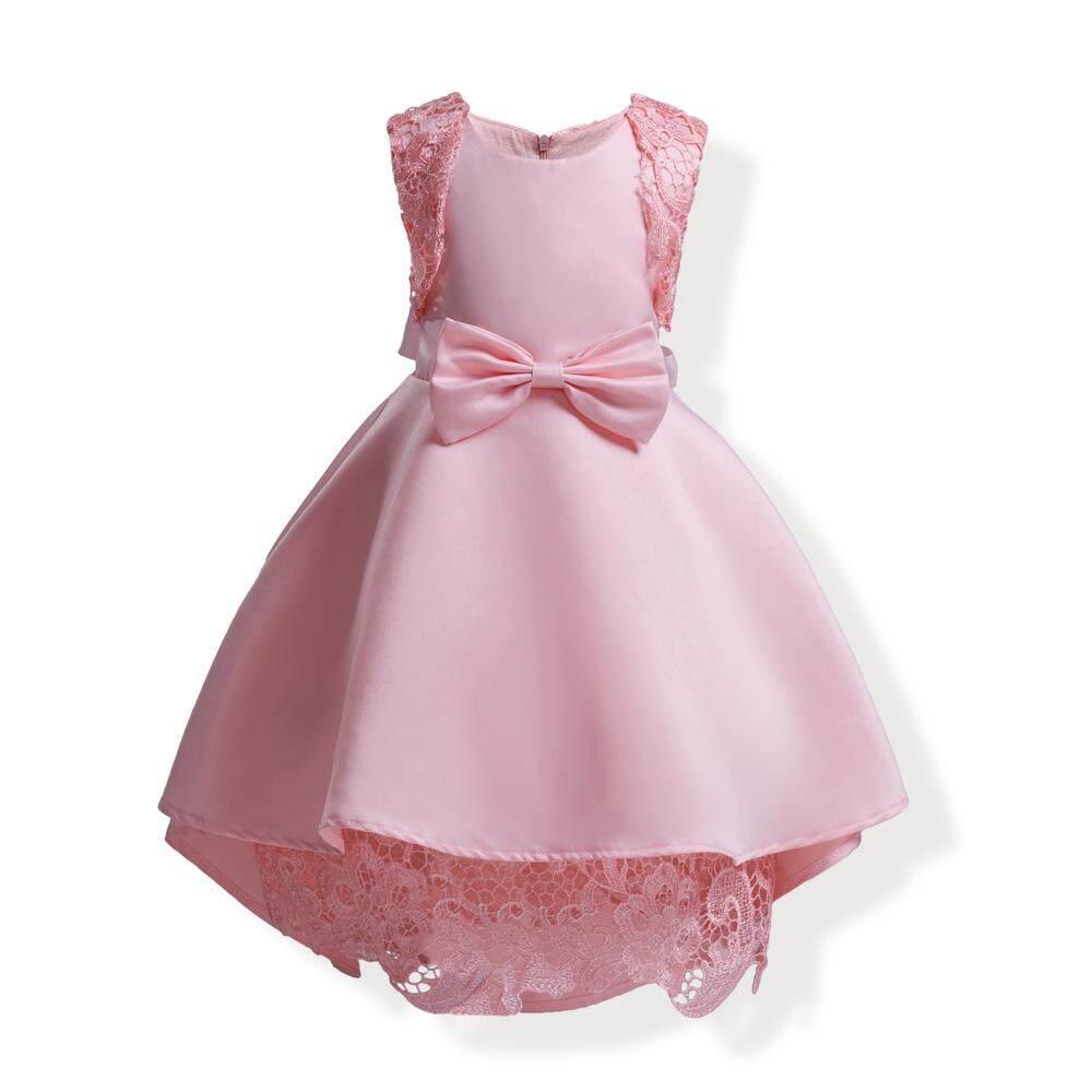 Hot Jual Baru Musim Panas Yang Indah Gadis Putri Gaun Pesta Ulang Tahun Pakaian Fashion Anak-anak Tanpa Lengan O-neck Lace Ujung Dasi kupu-kupu Gaun Bola Gaun Formal