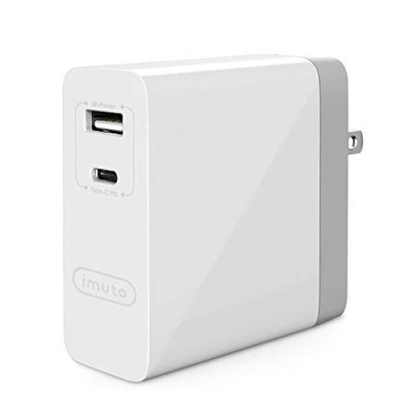 Imuto Usb C Daya Delivery Dinding Pengisi Daya, 45 W USB-C PD2.0 + 5 V/2.4A Port Pengisi Daya dengan AS UK EU Perjalanan Adaptor untuk Macbook, dell XPS 13, Usb-type C Laptop, Nintendo Sakelar, iPhone, iPad, samsung dan Lainnya-Internasional