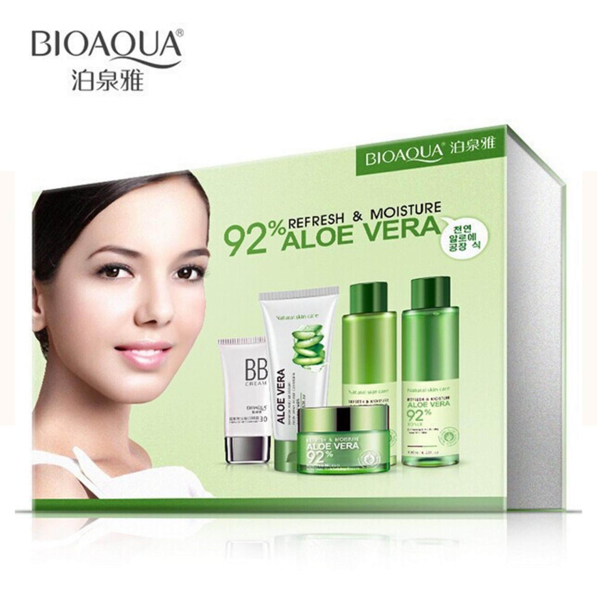 Fitur Bioaqua 5 In 1 92percent Aloe Vera Essence Skin Care Set Aloevera 92 Refresh