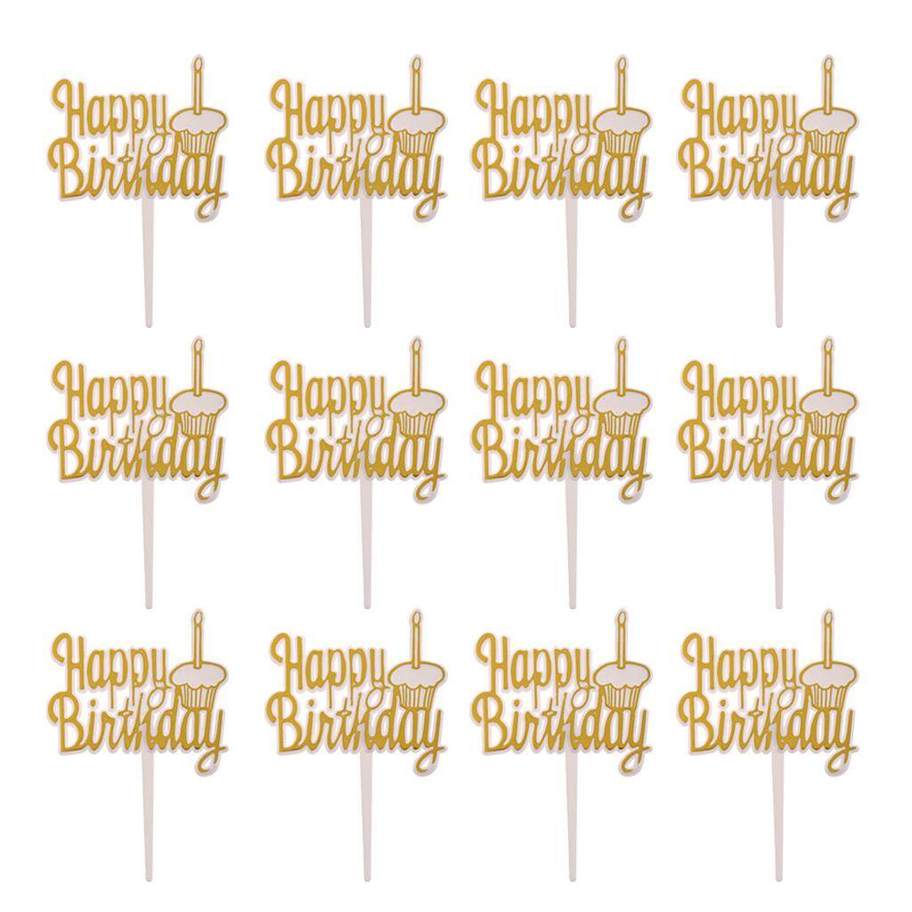 Bolehdeals 12 Pieces Happy Birthday Cake Topper Home Party Cake Cupcake Decor - Intl By Bolehdeals.