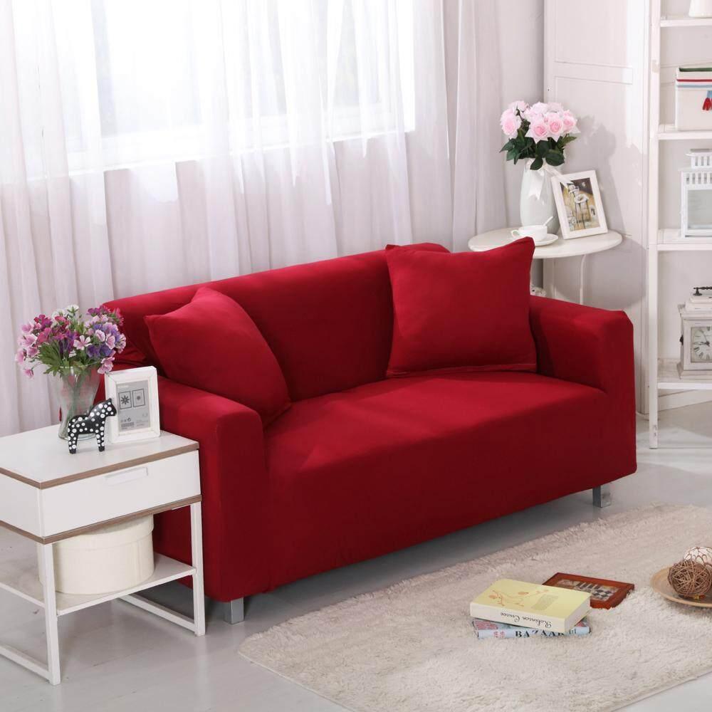 Ym Modis 1 Orang Sofa Set, Merah Warna Murni Empat Musim Umum Paket Kompak. Skidproof, Tidak Ada Rambut Bola, Halus, Bantal Bantal Gratis.-Internasional