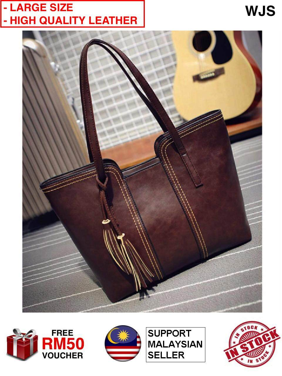 (LARGE QUALITY LEATHER) WJS Lady Tassel Handbag New Arrival Large Size PU Leather Casual Bag High Quality Leather Hand Bag BROWN (FREE RM50 VOUCHER)