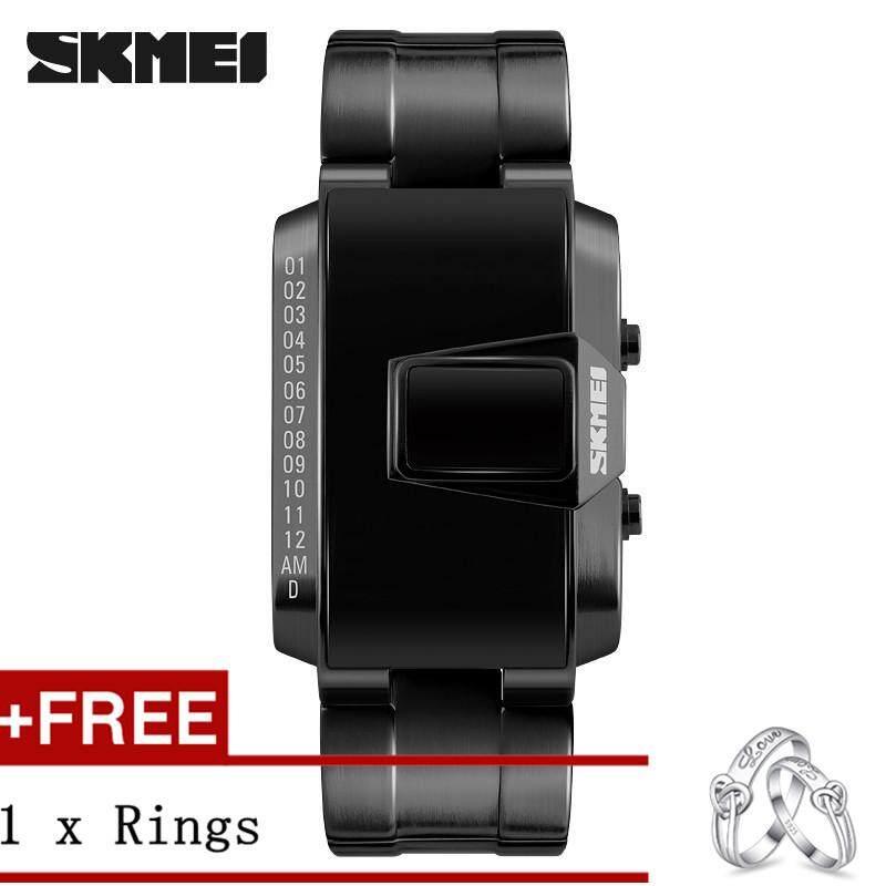 NanXiangZi SKMEI 1179 Men Fashion Personality LED Display Waterproof Metal Digital Watch + Free a Couple Rings