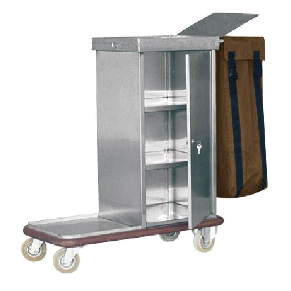 Rivershop Multi-Purpose Stainless Steel Housekeeping Escort Cart 4 wheel Trolley ECT-900/SS for Storage Organization Rolling Cart With Wheel