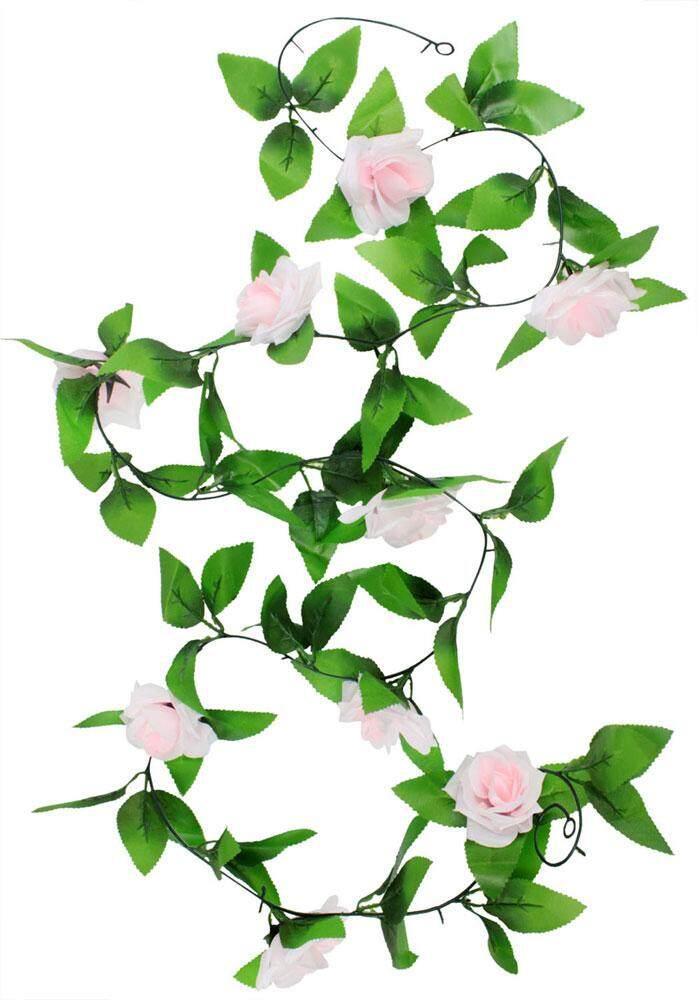 wedzwe Hanging Artificial Vine Silk Rose Flower Decoration, Light Pink