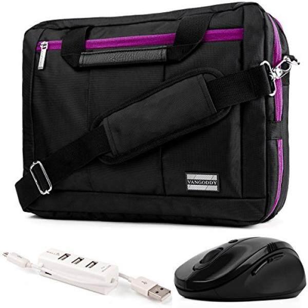 EL Prado 3-in-1 Hybrid Purple Trim Laptop Bag w/ Wireless Mouse and USB HUB for HP Omen / ENVY / Pavilion / EliteBook / ProBook / Spectre / Stream / ZBook / Mobile Thin Client 14-15.6in - intl