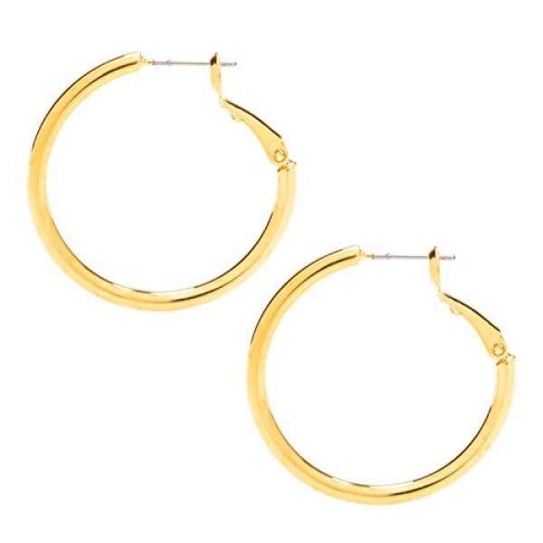 Hoop Anting-Anting,, 24 K Gold Lebih Perunggu, Perhiasan Modis Premium, Anti-alergi, aman untuk Telinga Yang Paling, 1.25 Inches-Internasional