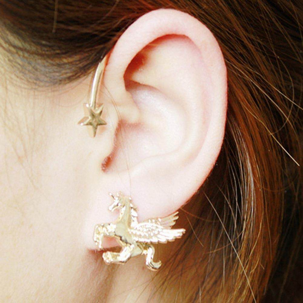 Flying Horse Pegasus Wing Unicorn Star Ear Cuff Stud Punk Stereoscopic Ear Clip Earrings
