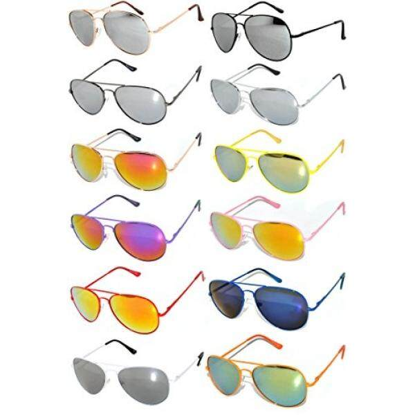 cf7410f44 12 Pairs Classic Aviator Sunglasses Metal Gold Silver Black Frame Colored  Mirror Lens OWL (Mix