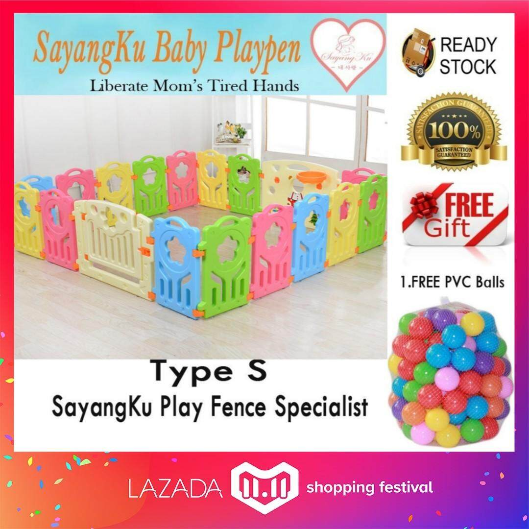 S (14+2) Free 50 Balls !! {Clearance Sales!!!} SayangKu 16pcs Baby/Kids Safety Play Fence Playpen Home PlayYard Gate