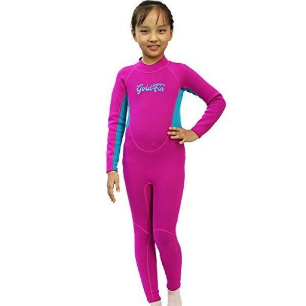 Goldfin Kids Wetsuit Full Body Neoprene Suit Coveralls for Swimming Snorkeling Diving Waterpark Summer Camp by SW018 (Fuchsia, 6) - intl