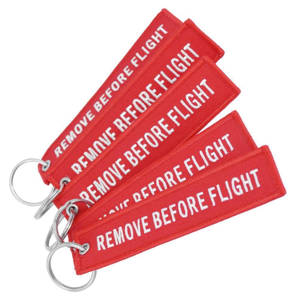 Bluelans Modis Hapus Sebelum Penerbangan Huruf Bordir Kunci Rantai Tas Gantungan Dekor (Hitam Di Merah Muda)-Internasional - 3