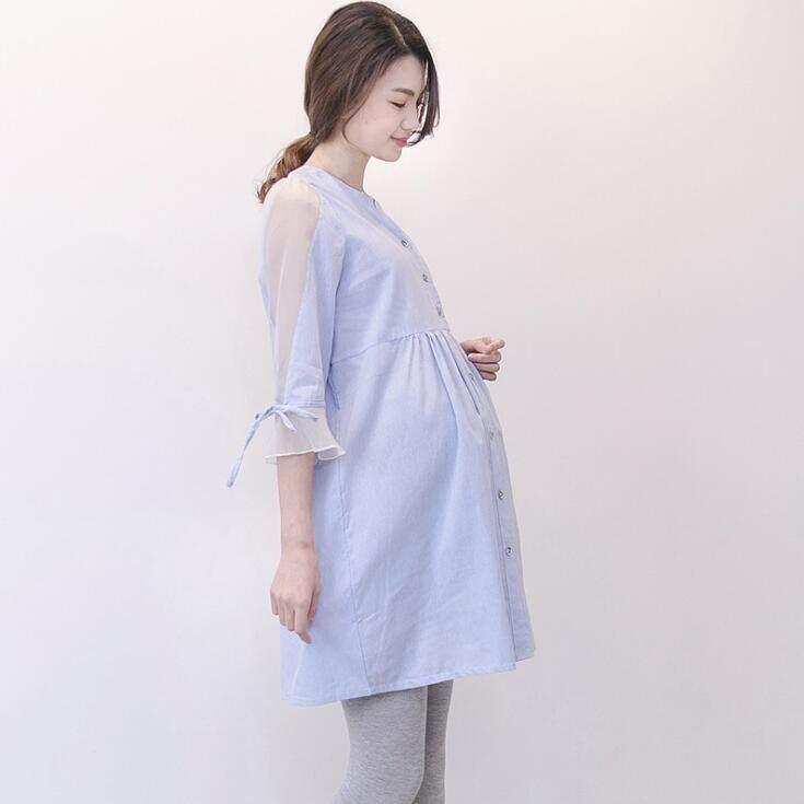 87e81eabd9f7e Maternity wear dress 2018 spring summer new shirt dresses loose comfortable long  sleeve blue white striped