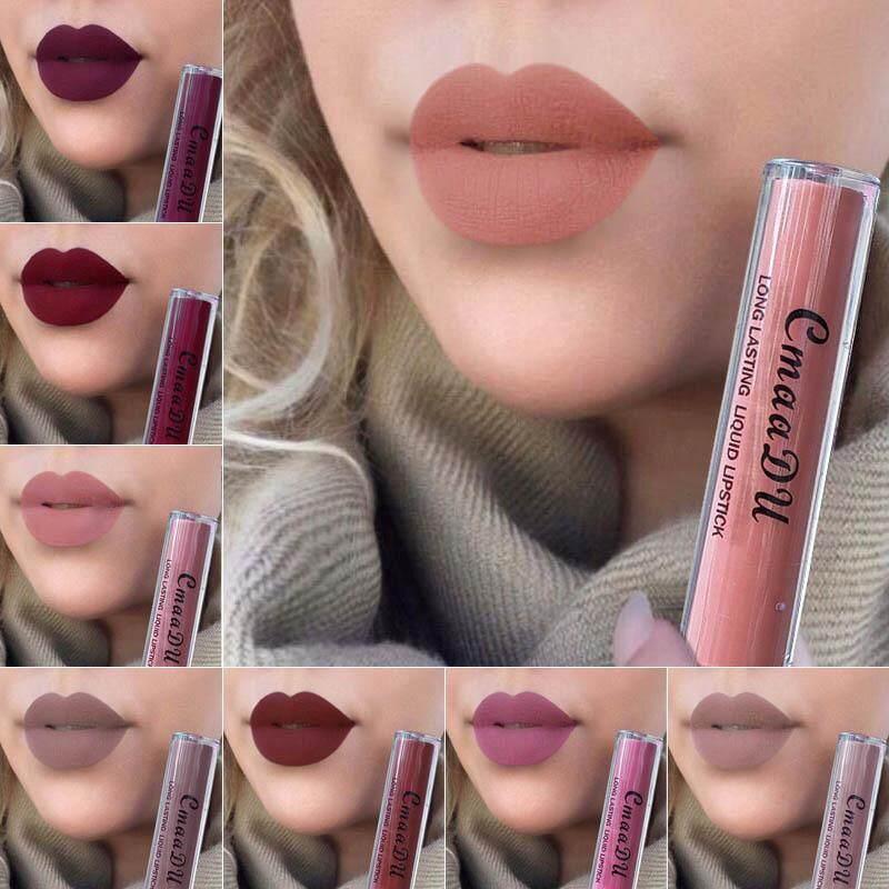 Anti-Air Warna Tidak Mengkilap Lipstik Cair Bibir Halus Tongkat Panjang Abadi .